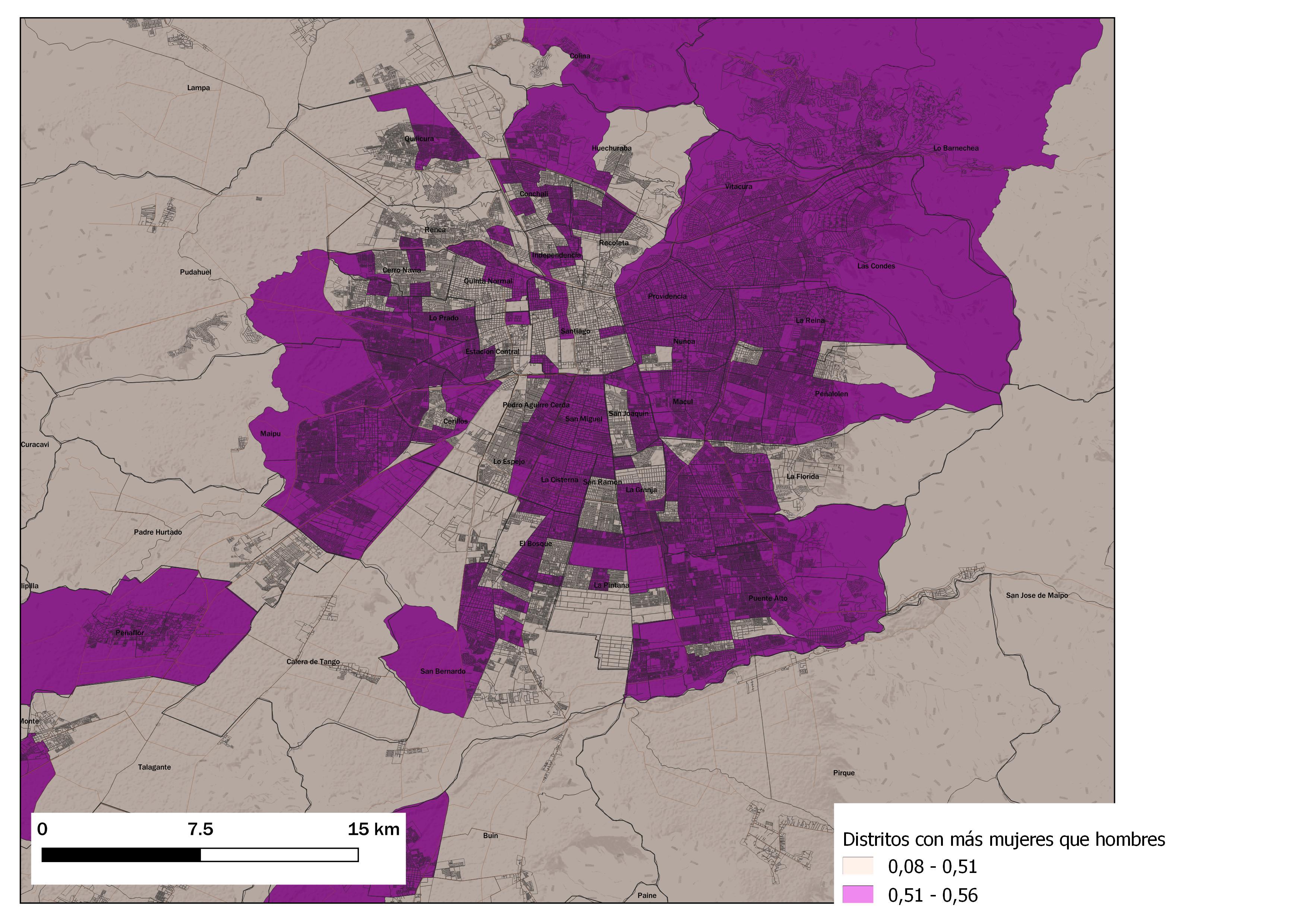 Mapa de la RM indicando los distritos censales 2017 donde hay más mujeres que hombres